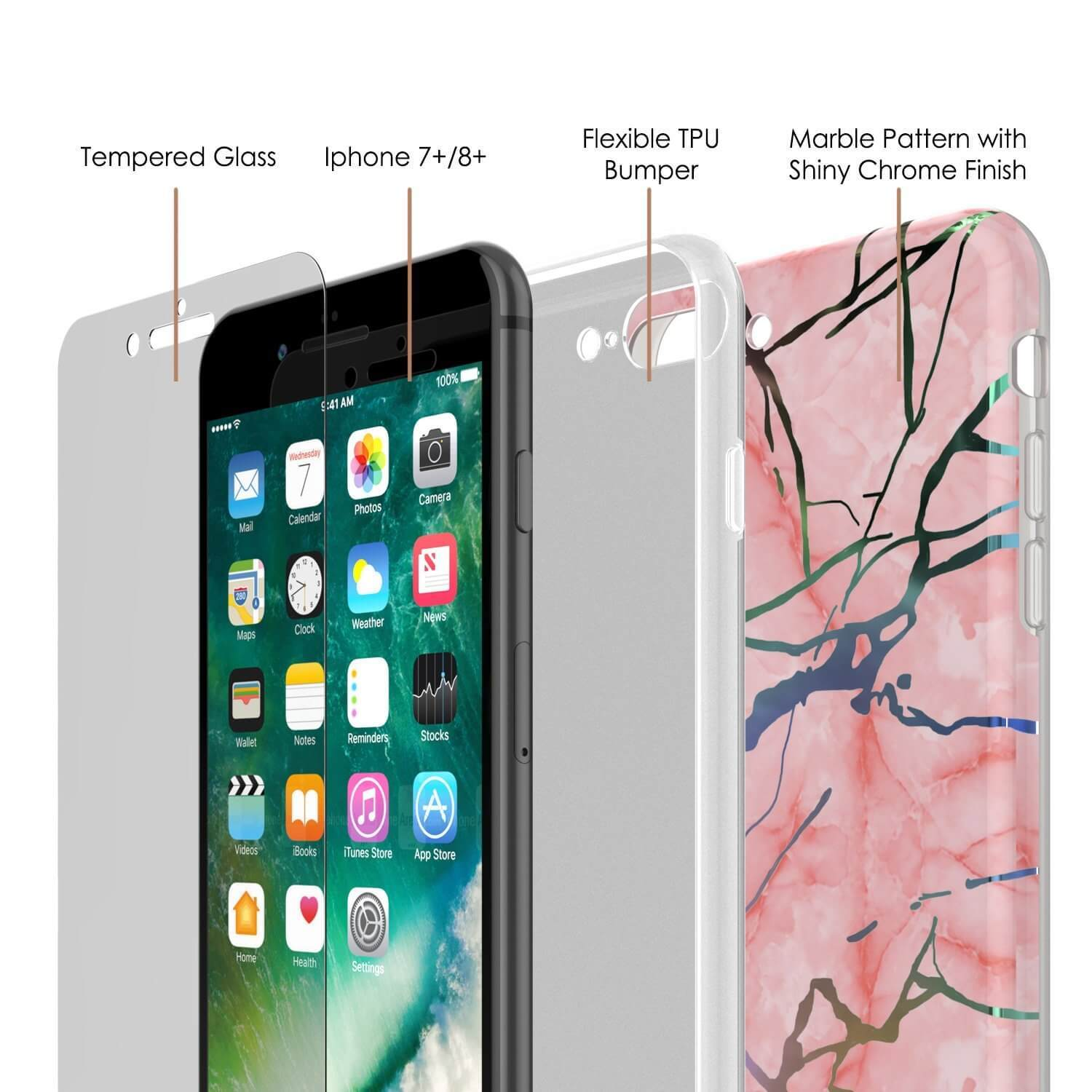 Punkcase iPhone 8+ / 7+ Plus Marble Case, Protective Full Body Cover W/9H Tempered Glass Screen Protector (Rose Mirage)