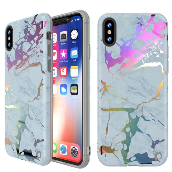 Punkcase iPhone X Protective Full Body Marble Case | Blue Marmo