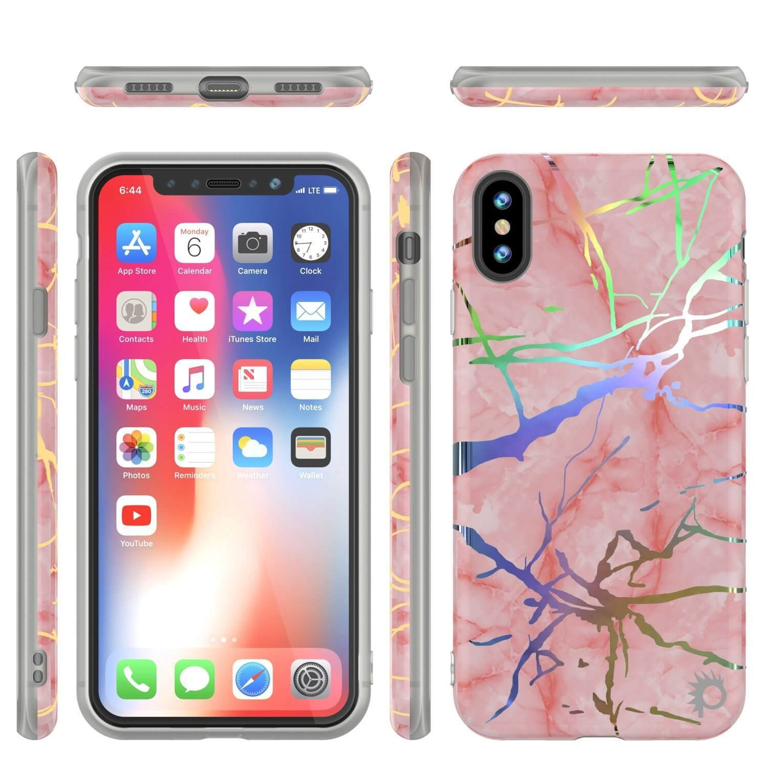Punkcase iPhone X Protective Full Body Marble Case | Rose Gold Mirage