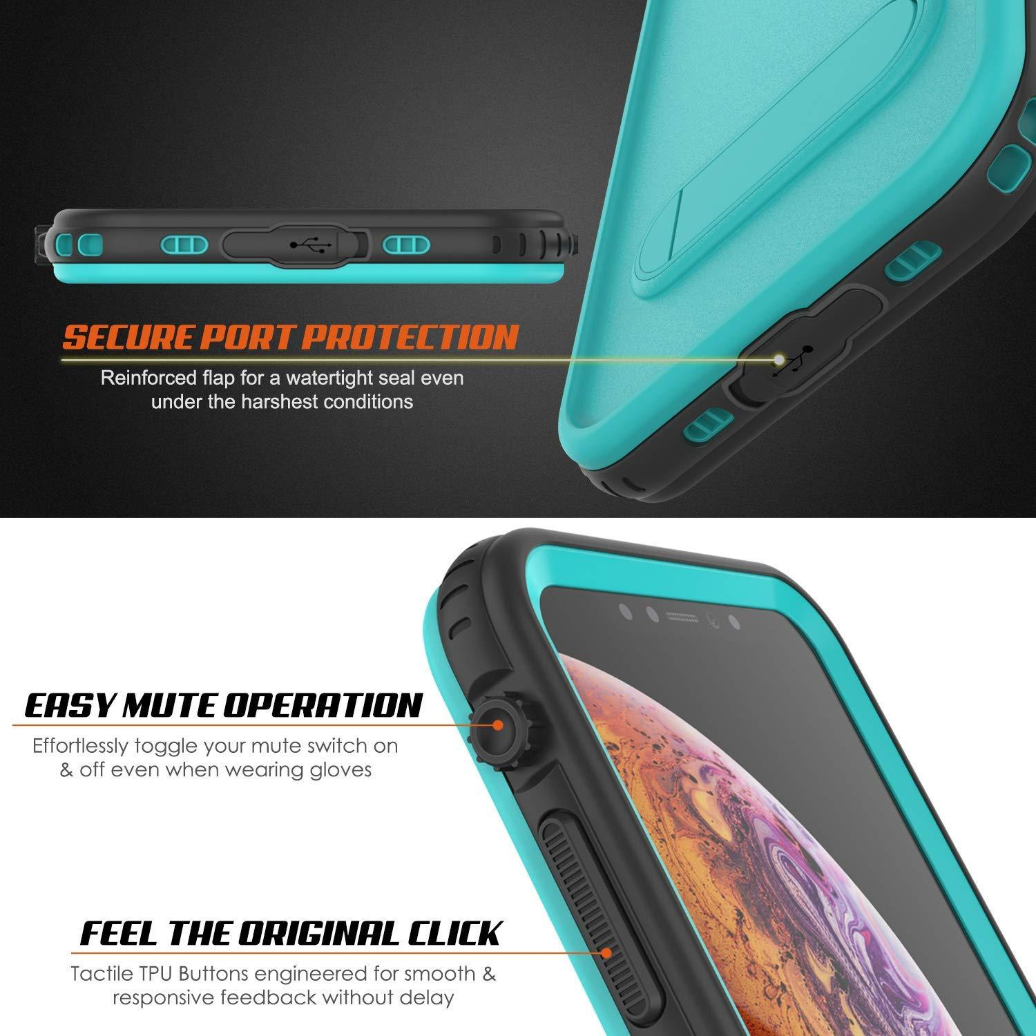 iPhone XR Waterproof Case, Punkcase [KickStud Series] Armor Cover [Teal]