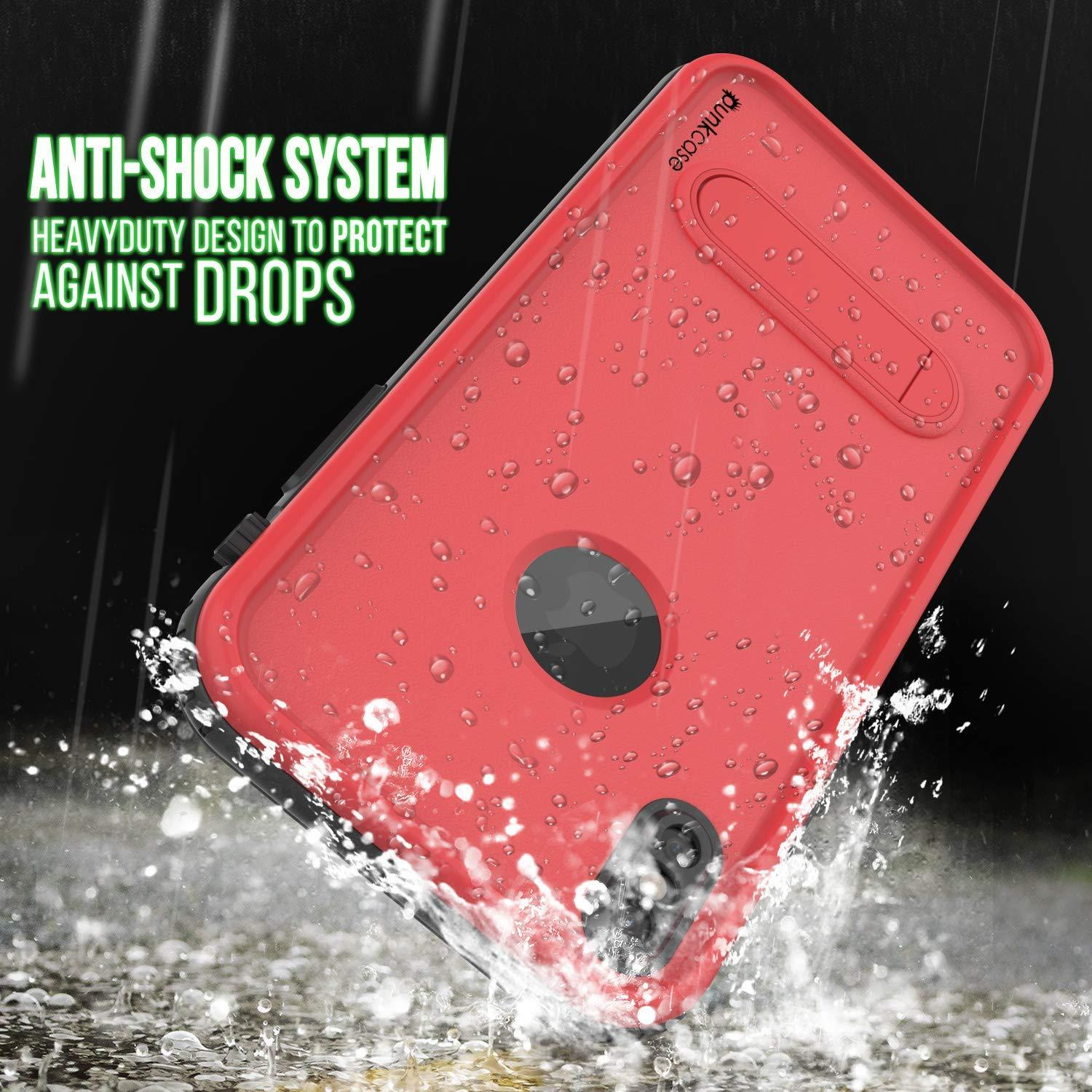 iPhone XS Max Waterproof Case, Punkcase [KickStud Series] Armor Cover [Red]