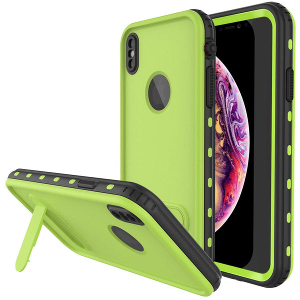 iPhone XS Waterproof Case, Punkcase [KickStud Series] Armor Cover [Green]