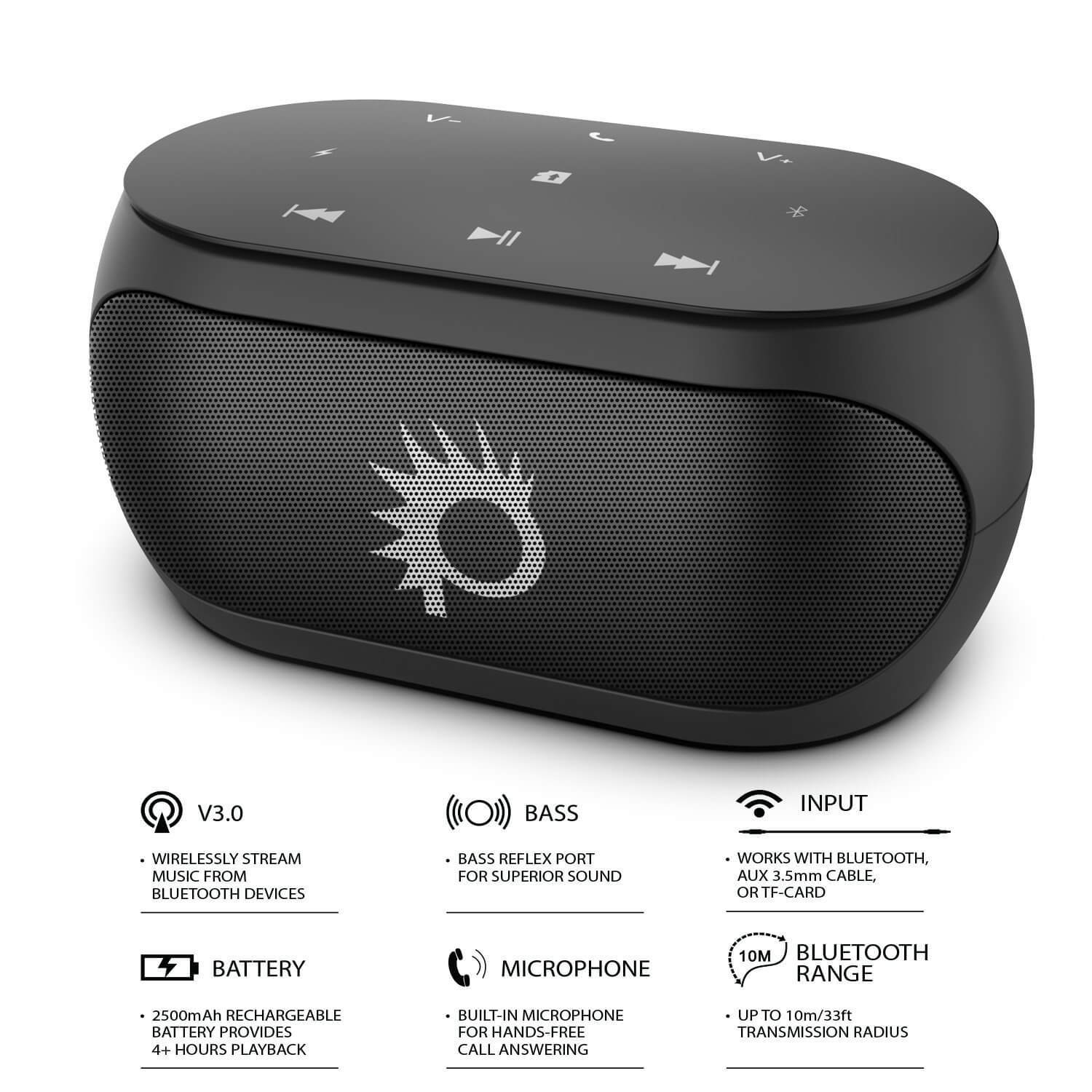 Punkcase SILENCER Powerful and Portable Bluetooth Speaker W/Enhanced Bass TF/SD Card Slot/AUX Input, Hands Free Speakerphone W/Mic