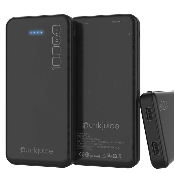 PunkCase PowerBank 10000mah Battery Pack for iPhone X/XS/Max/XR / 11/10, iPad, Samsung Galaxy S10 / S9 and Many More [Black]