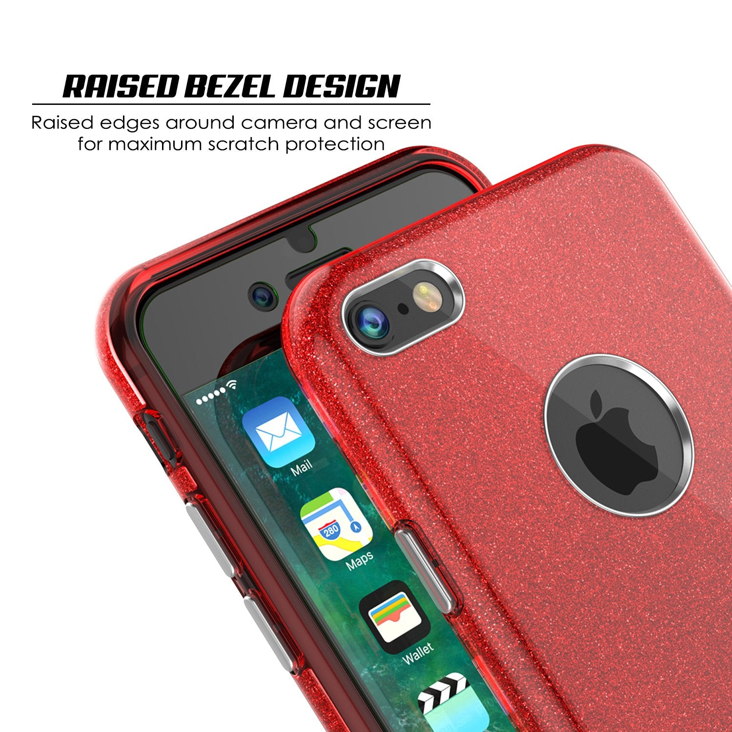 iPhone 8 Case, Punkcase Galactic 2.0 Series Ultra Slim Protective Armor TPU Cover [Red]