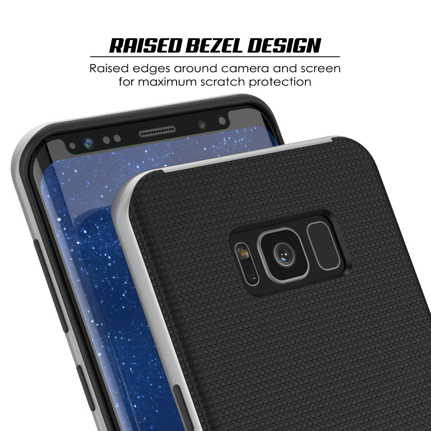 Galaxy S8 Case, PunkCase Stealth Silver Series Hybrid 3-Piece Shockproof Dual Layer Cover