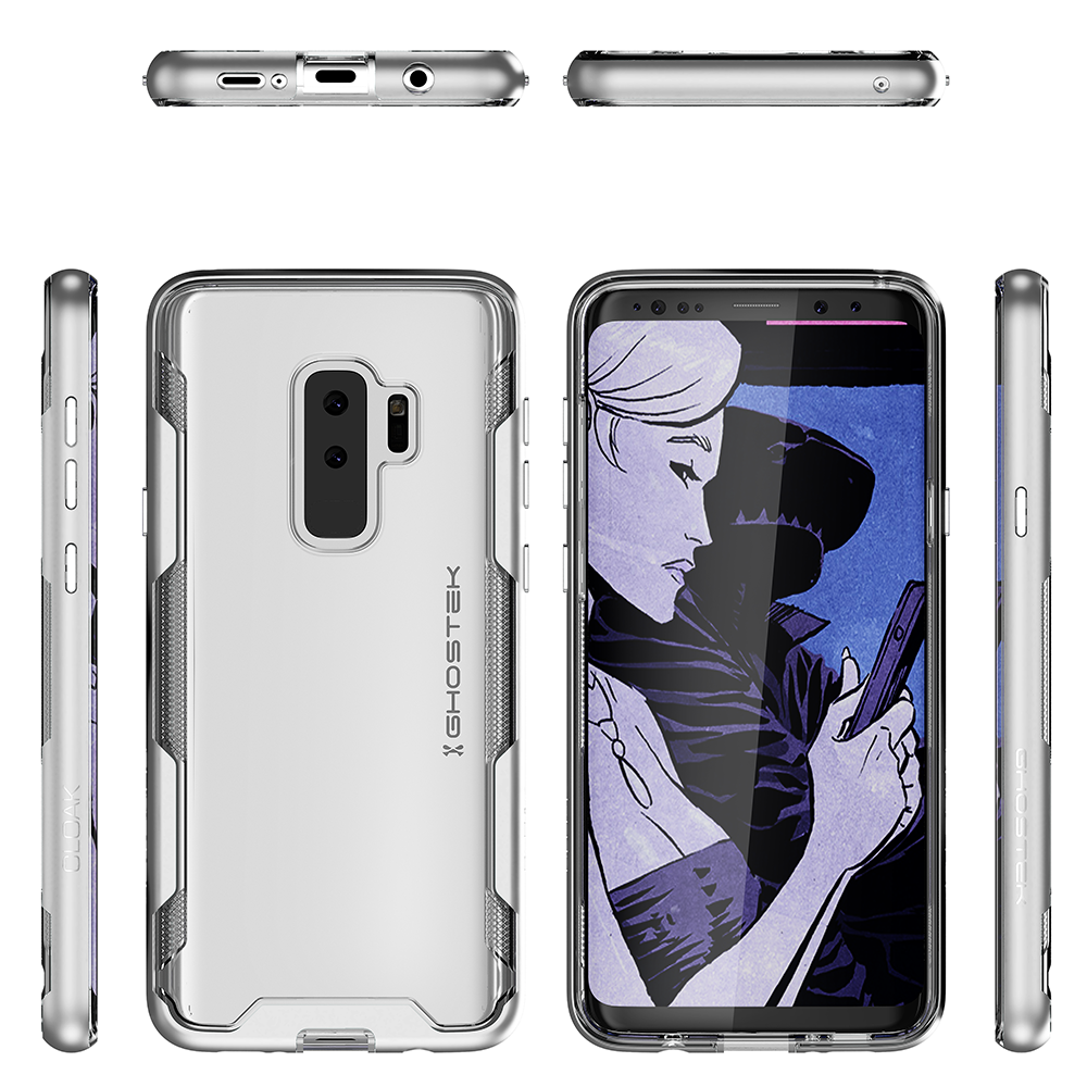 Galaxy S9+ Plus Clear Protective Case | Cloak 3 Series [Silver]