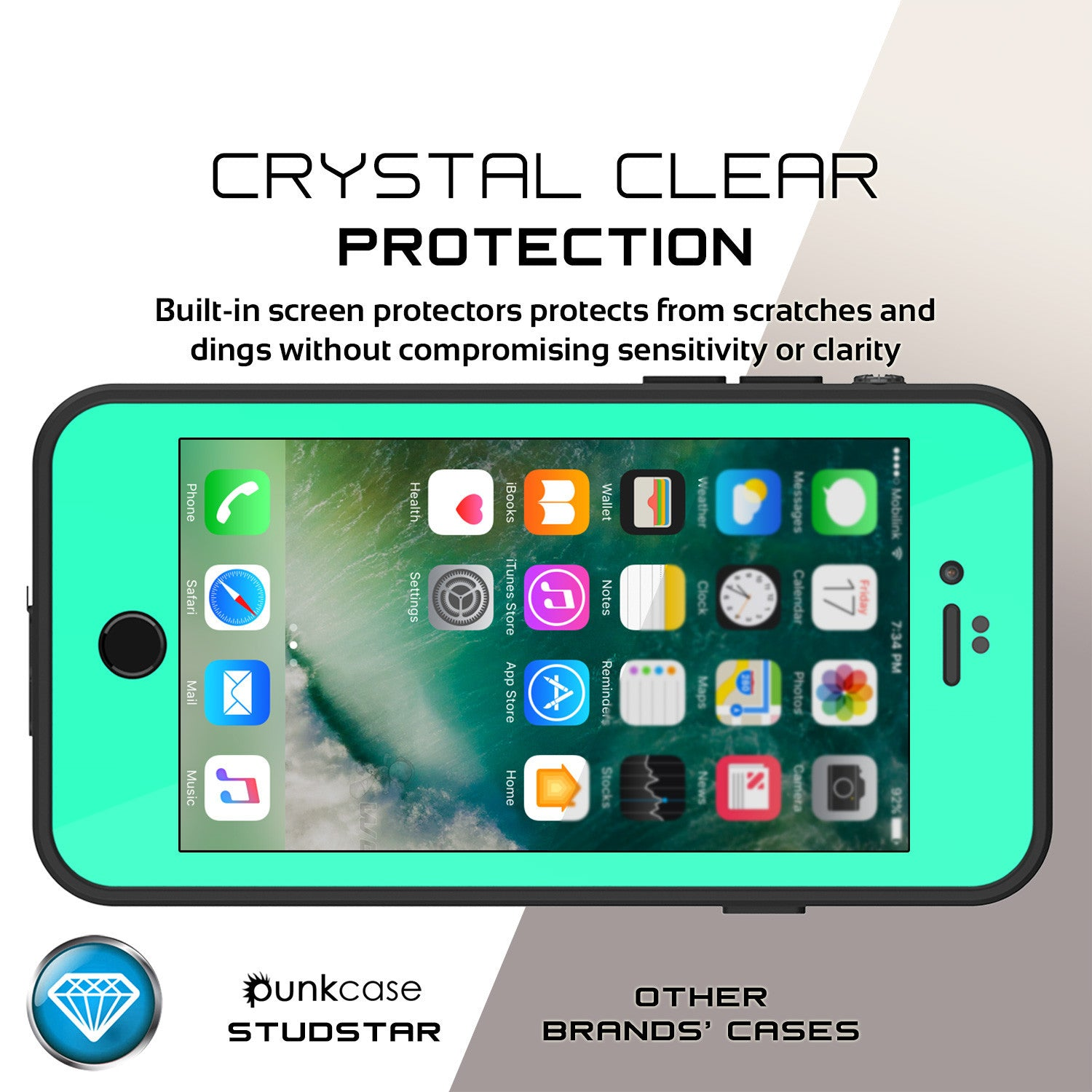 PUNKCASE - Studstar Series Snowproof Case for Apple IPhone 7 | Teal