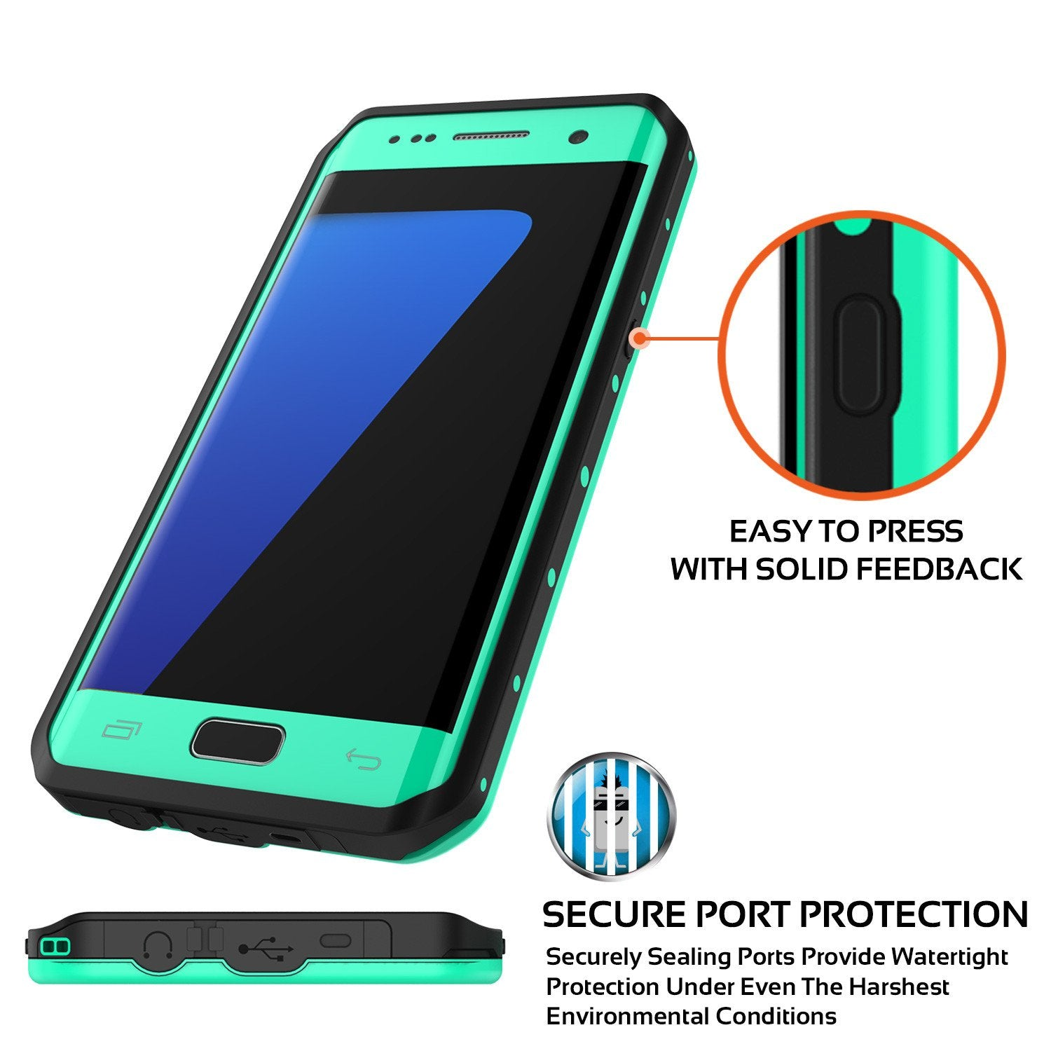 Galaxy S7 EDGE Waterproof Case PunkCase StudStar Teal Thin 6.6ft Underwater IP68 Shock/Snow Proof