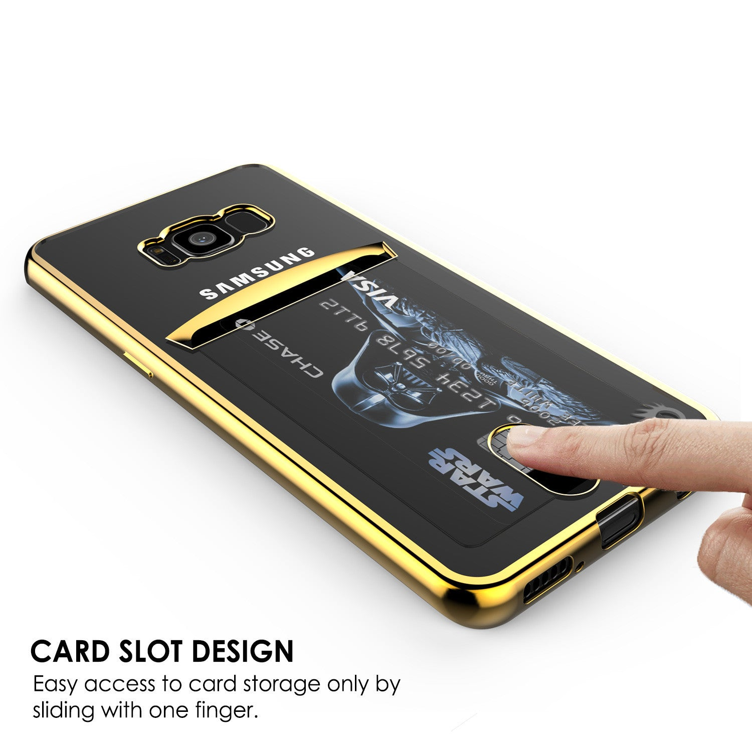 Galaxy S8 Case, PUNKCASE® LUCID Gold Series | Card Slot | SHIELD Screen Protector | Ultra fit