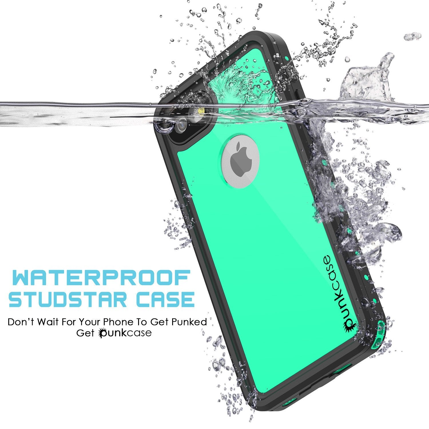 iPhone 7 Waterproof IP68 Case, Punkcase [Teal] [StudStar Series] [Slim Fit] [Dirtproof] [Snowproof]