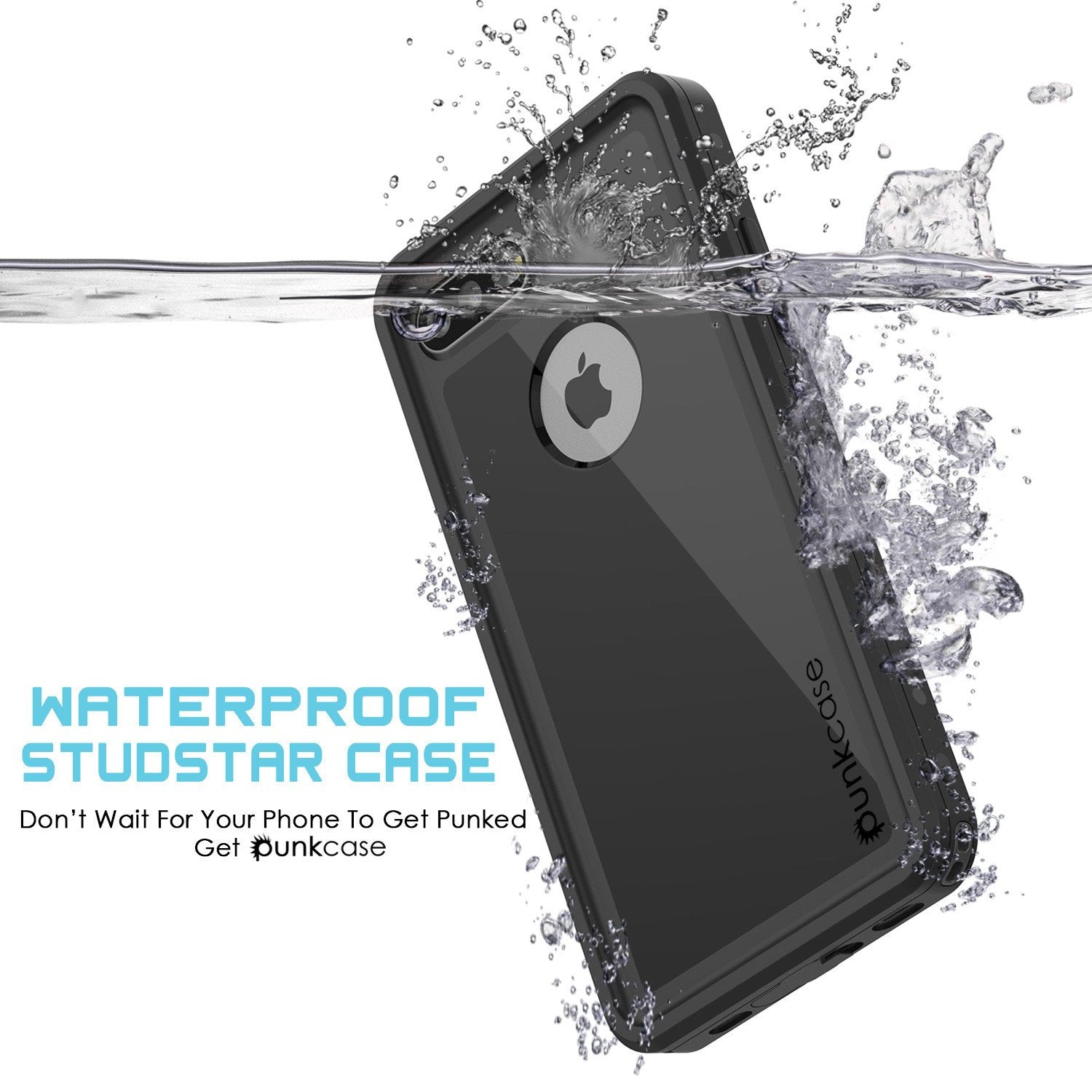 iPhone 7+ Plus Waterproof IP68 Case, Punkcase [Black] [StudStar Series] [Slim Fit] [Dirtproof]