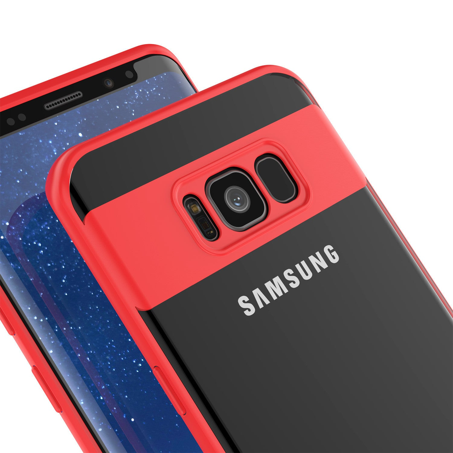Galaxy S8 Case, Punkcase [MASK Series] [RED] Full Body Hybrid Dual Layer TPU Cover W/ Protective PUNKSHIELD Screen Protector