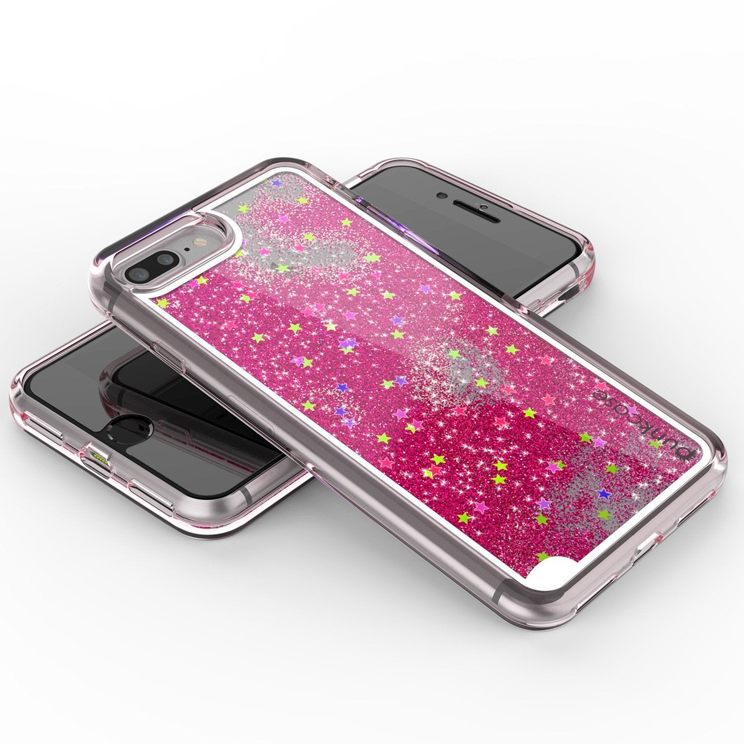 iPhone 8+ Plus Case, PunkCase LIQUID Pink Series, Protective Dual Layer Floating Glitter Cover