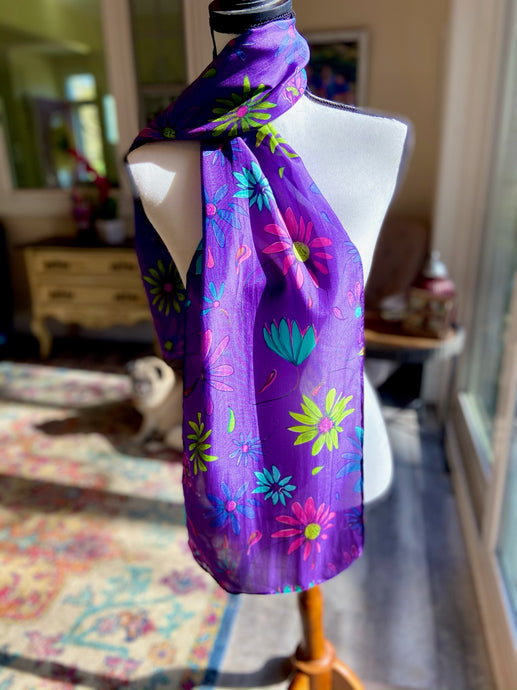 Purple Passion Silk Floral Scarf,