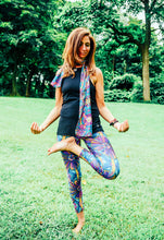 Blue and Purple Spindle Wearable Art Athletic  Leggings
