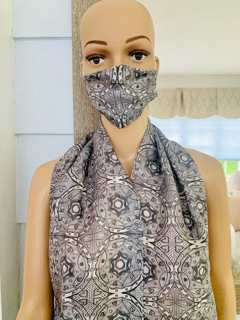 Silk Black and White Mandala Matching Mask and Scarf Set