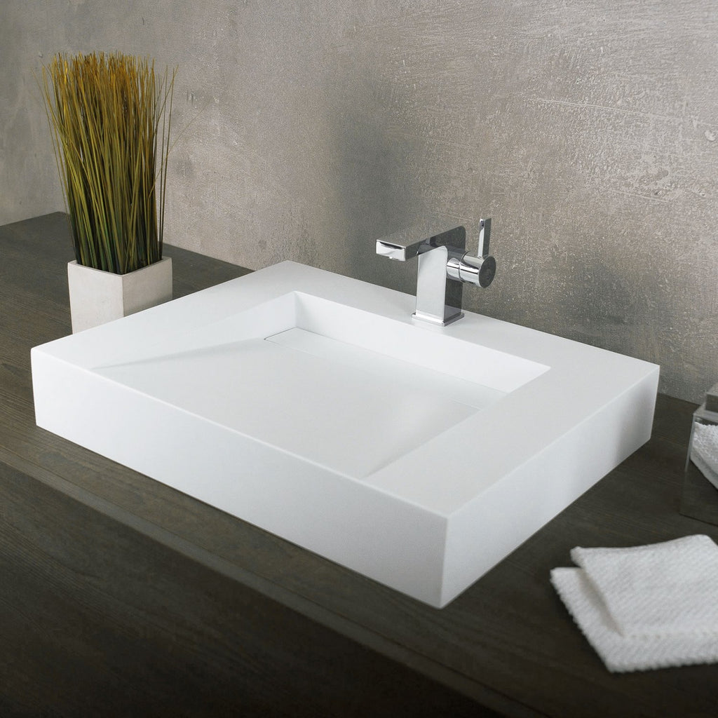Dax Solid Surface Rectangle Single Bowl Top Mount Bathroom Sink White Sbm Distribution