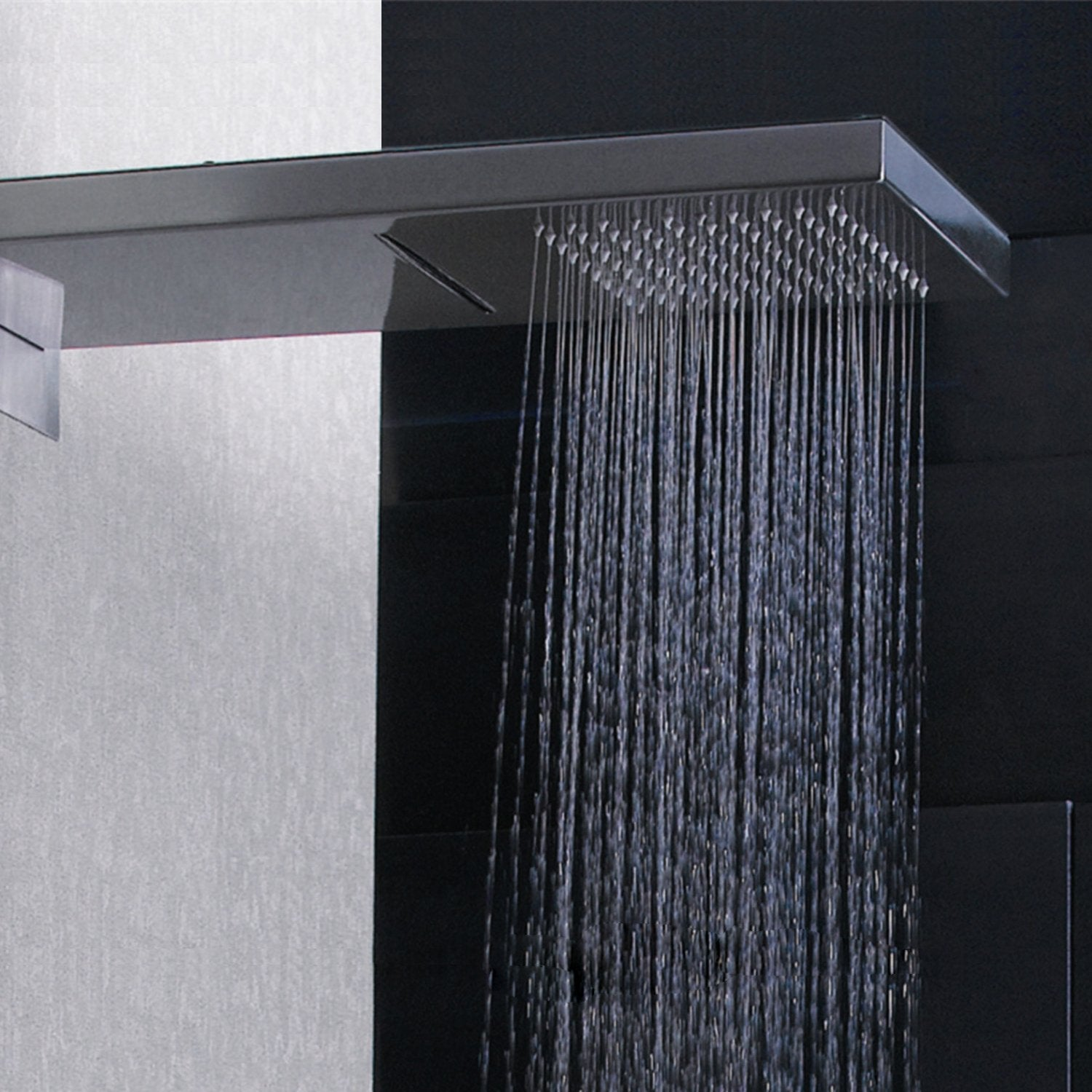 Dax Shower System Faucet Set With Square Rain Waterfall Shower Head And Hand Shower Wall Mount Brass Body Chrome Finish Dax A402