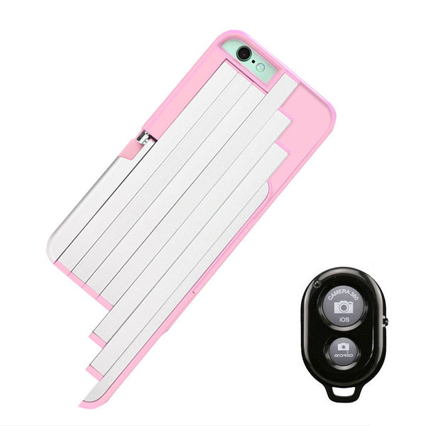 Pink selfie phone case with remote
