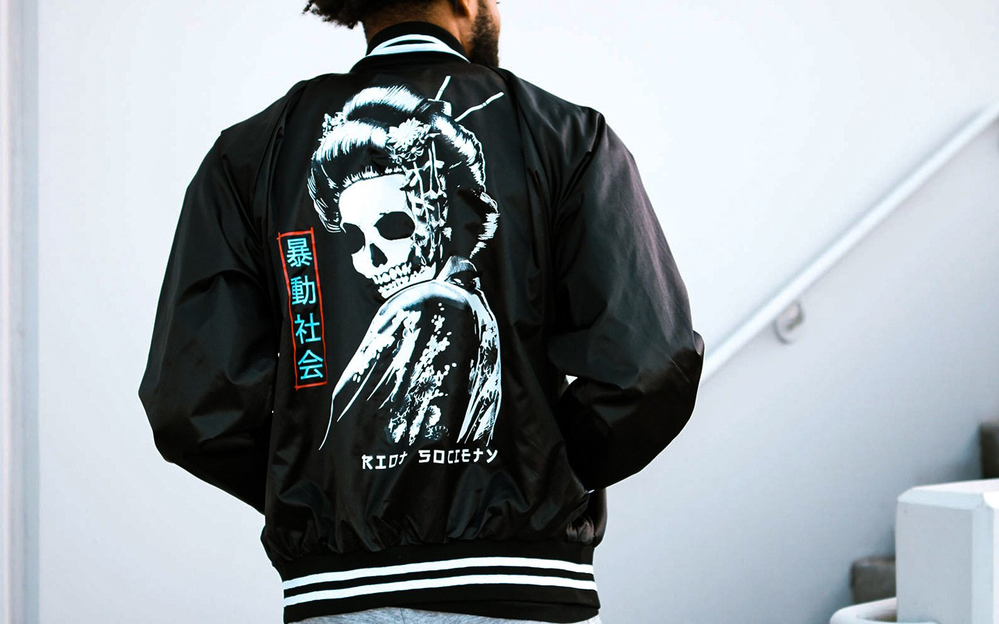 geisha skeleton satin jacket in black from brand riot society for men and women on thedrop