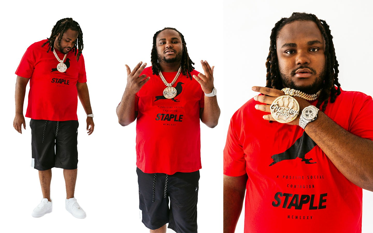 rapper Tee Grizzley modeling Staple Pigeon brand track jackets and t-shirts big and tall on thedrop