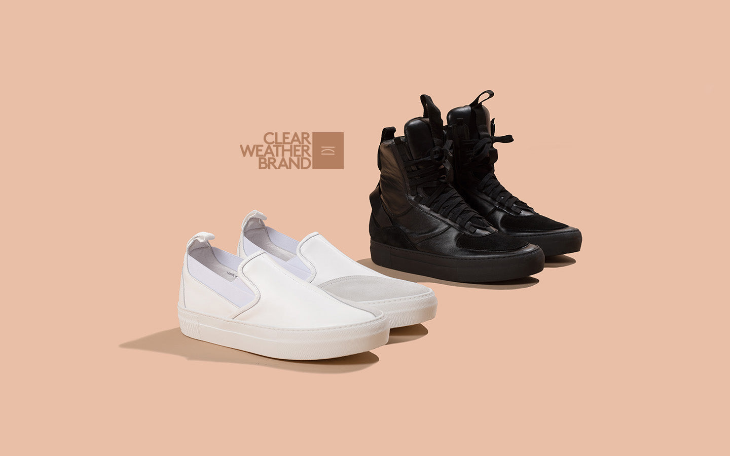 clearweather italian sneakers beltempo collection black hi-tops white slip-ons thedrop