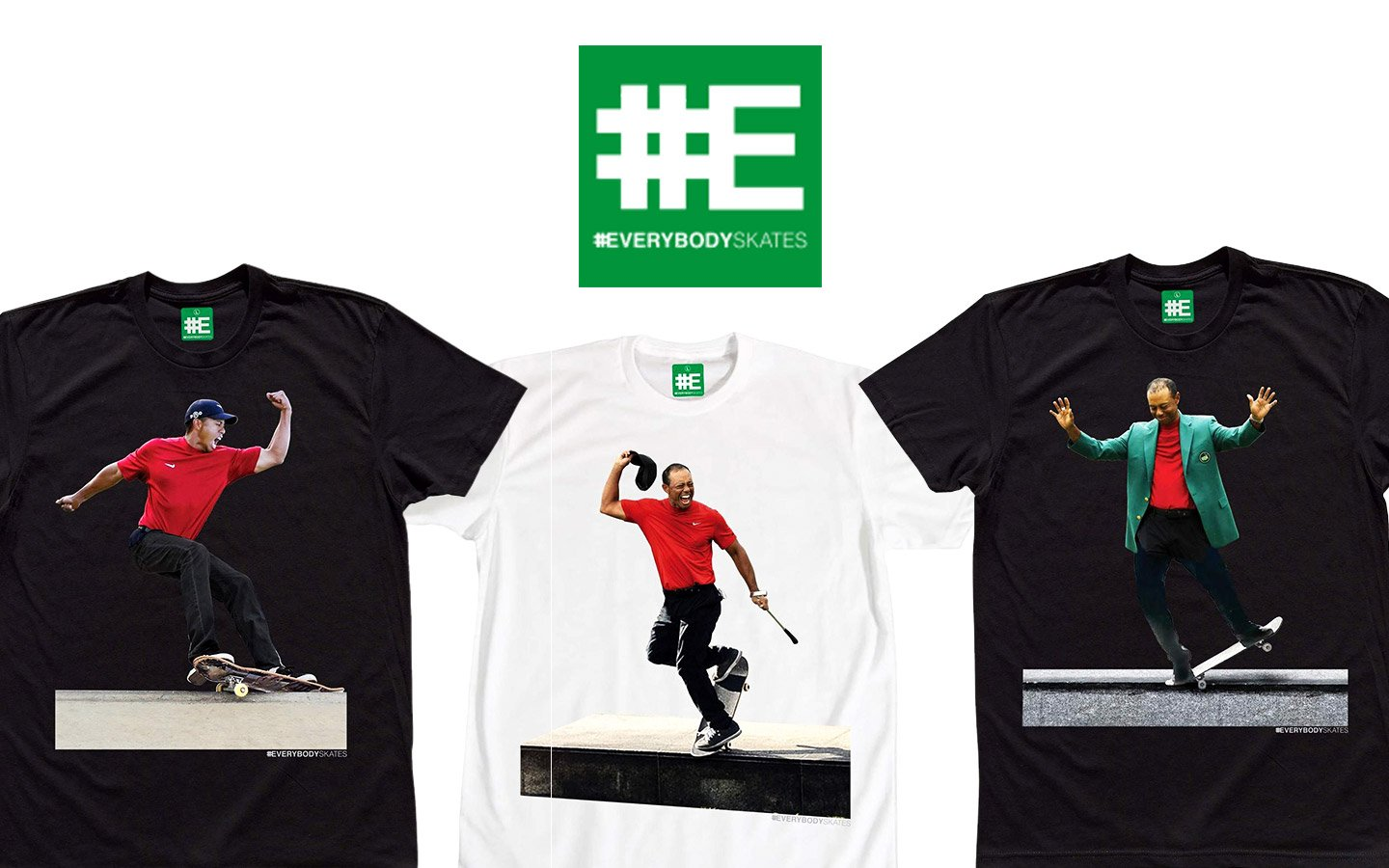 everybodyskates tiger woods skateboarding tees and men's t-shirts in black and white on thedrop