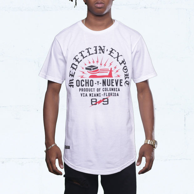 8 9 MFG Co. medellin export curved hem tee white tees TheDrop