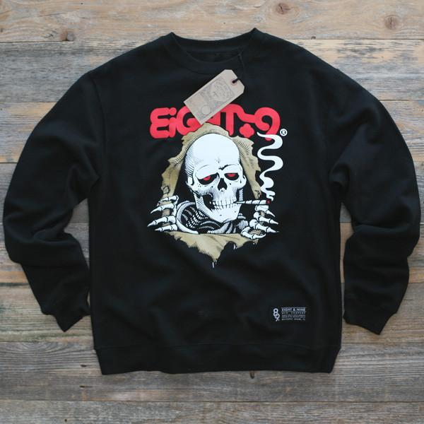 8 9 MFG Co. ripped rippers crewneck sweatshirt black jackets and outerwear TheDrop
