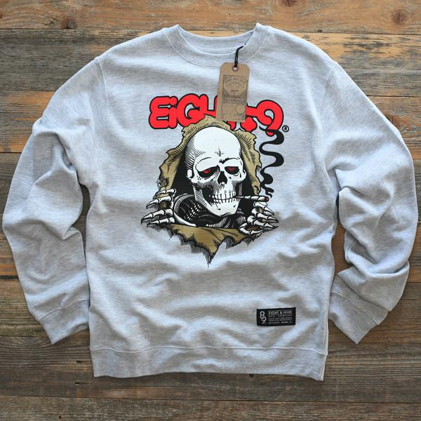 8 9 MFG Co. ripped rippers crewneck sweatshirt grey jackets and outerwear TheDrop