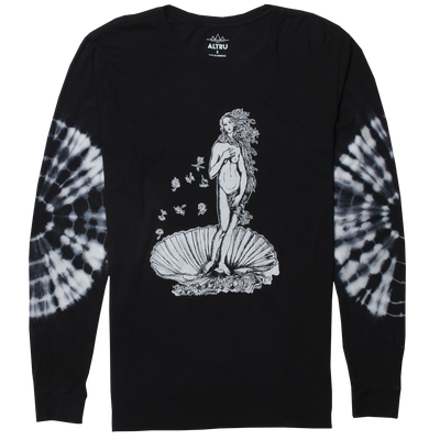 Altru Apparel birth of venus with tie dyed long sleeves on black graphic t shirt tees black TheDrop