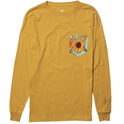Altru Apparel sunflower van gogh pocket long sleeve graphic t shirt tees yellow TheDrop