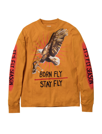 Born Fly eagle embroidered ls tee 1910t3475 yel tees yellow TheDrop