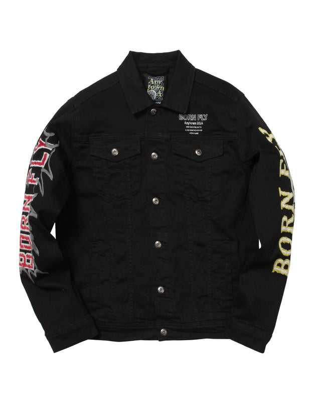 Born Fly monopoly denim jacket 1908o3342 blk jackets and outerwear black TheDrop