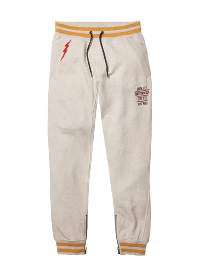 Born Fly sand fleece sweat pants 1910b3478 oah pants and joggers beige TheDrop