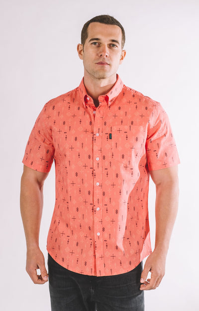 Brand Two Four living coral short sleeve shirt button down shirts TheDrop