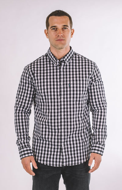 Brand Two Four white checkered long sleeve shirt button down shirts TheDrop