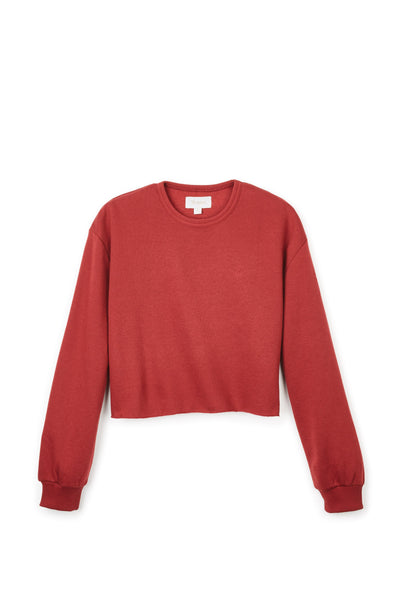 BRIXTON womens vintage crop crew burgundy belmont army red TheDrop