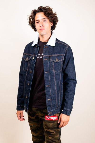 Brooklyn Cloth dark denim sherpa jacket jackets and outerwear dark stone wash TheDrop
