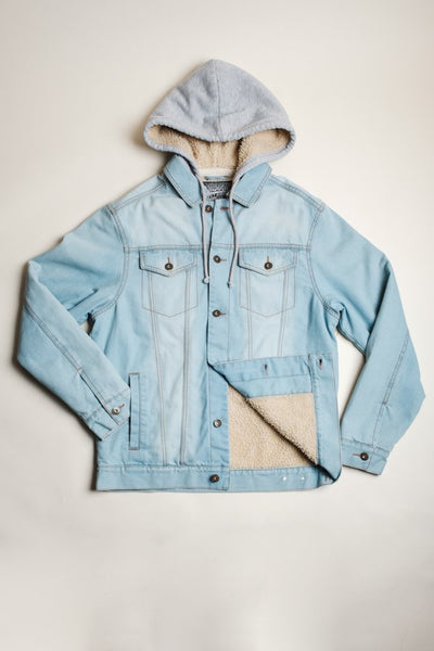Brooklyn Cloth light wash sherpa hooded denim jacket jackets and outerwear light stone wash TheDrop
