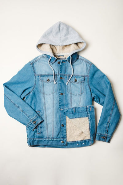 Brooklyn Cloth medium blue sherpa hooded denim jacket jackets and outerwear blue TheDrop