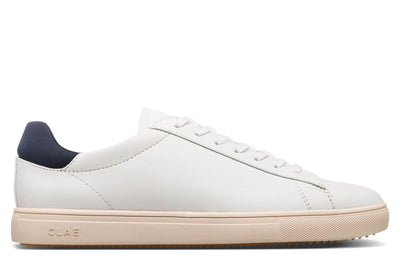 CLAE bradley navy vegan leather sneakers white TheDrop