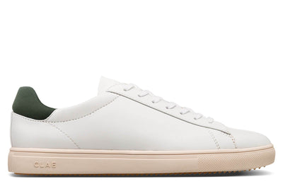 CLAE bradley white olive vegan leather sneakers white TheDrop