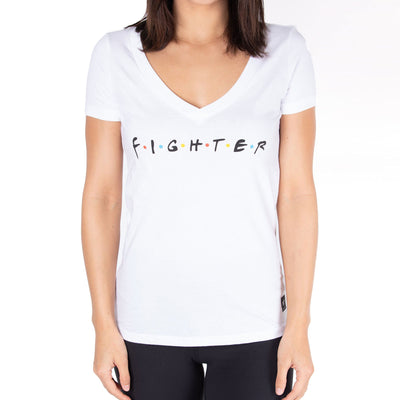 Contenders Clothing womens friends fighter v neck tees and tank tops white TheDrop