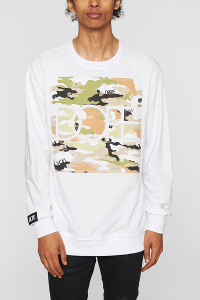 DOPE camo l s crew white hoodies and crewnecks white TheDrop