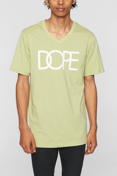 DOPE classic logo v tee green tees green TheDrop