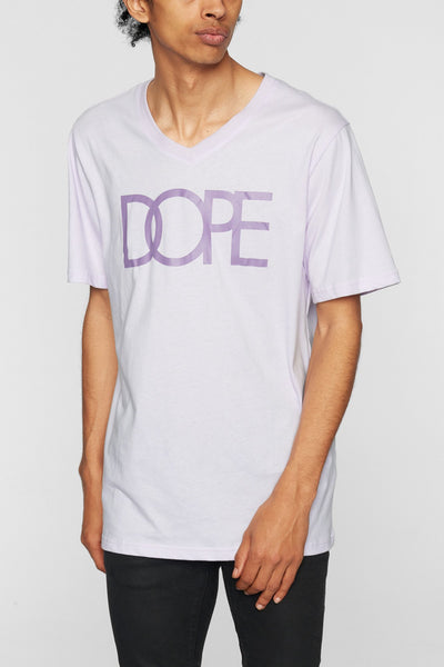DOPE classic logo v tee lilac tees TheDrop