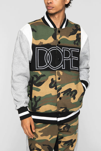 DOPE rally varsity jacket woodland camo jackets and outerwear camo TheDrop