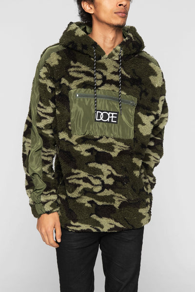 DOPE sherpa lounge hoodie camo hoodies and crewnecks camo TheDrop